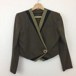 Vintage Cropped Blazer   Green/Black